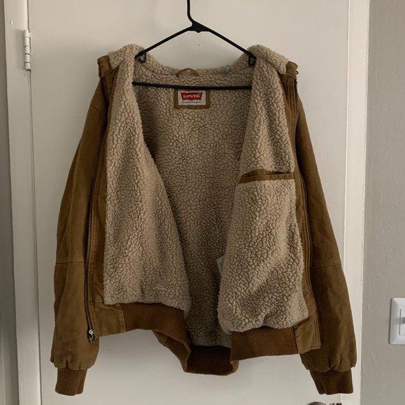 Levi's Brown Tan Heavy Fleece Faux Fur Coat Size Small